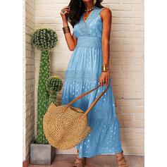 Lace/PolkaDot Sleeveless A-line Skater Casual/Vacation Maxi Dresses