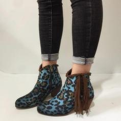 Femmes PU Talon bottier Escarpins Bout fermé Bottes avec La copie Animale Tassel chaussures