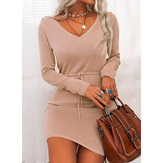 Solid Long Sleeves Sheath Above Knee Little Black/Casual/Elegant Sweater Dresses