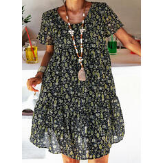 Print Short Sleeves Shift Knee Length Casual Tunic Dresses