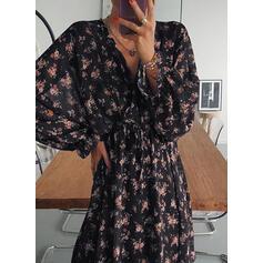 Imprimeu/Floral Mâneci Lungi Tip A-line Deasupra Genunchiului Casual Patenci Elbiseler