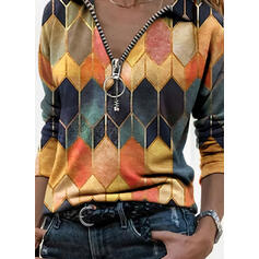 Geometric Print Lapel Long Sleeves Casual Blouses
