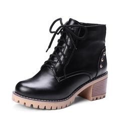 Femmes PU Talon bottier Escarpins Plateforme Bottes Bottines avec Rivet Zip Dentelle chaussures