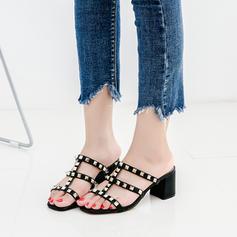Femmes Similicuir Cuir en microfibre Talon bottier Sandales À bout ouvert avec Rivet chaussures