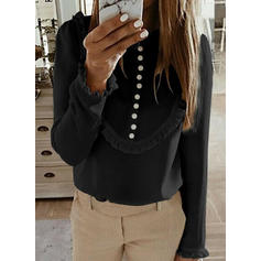 Solid Round Neck Long Sleeves Casual Sexy Ruffle Blouses