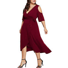 Solid 3/4 Sleeves/Cold Shoulder Sleeve A-line Little Black/Party/Elegant/Plus Size Midi Dresses