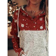 Stampa Blocchi di colore tasche Maniche lunghe Felpa natalizia