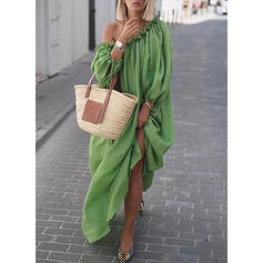 Solid Long Sleeves Shift Vacation Maxi Dresses
