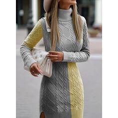 Color-block Lange ærmer Skede Over knæet Casual Sweater Kjoler