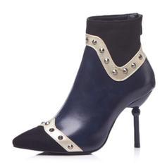 Femmes Similicuir Talon stiletto Escarpins Bottes Bottines avec Rivet Semelle chaussures