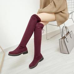 Femmes Suède Talon bas Chaussures plates Cuissardes avec Bowknot chaussures