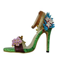 Femmes PU Talon stiletto Sandales Escarpins À bout ouvert avec Fleur en satin Semelle chaussures