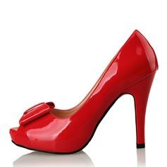 Pentru Femei Piele Breveta Toc Stiletto Încălţăminte cu Toc Înalt Platformă Puţin decupat în faţă cu Nod pantofi