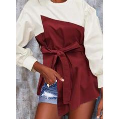 Цветной блок Шею Длинные рукова Повседневная Блузы