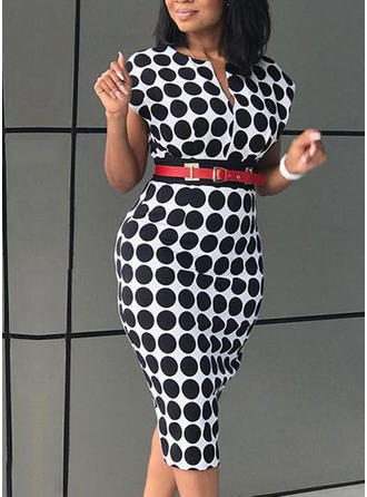 PolkaDot V-neck Knee Length Bodycon Dress