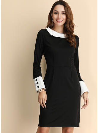 Solid Long Sleeves Sheath Knee Length Casual/Elegant Dresses
