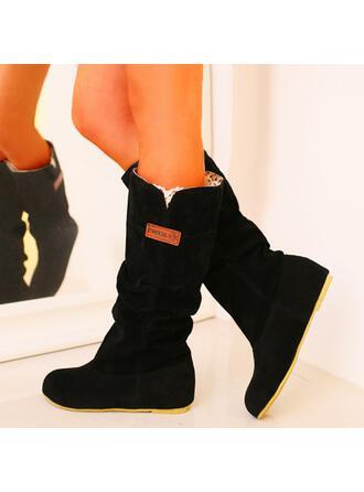 婦人向け PU ローヒール ブーツ スノー・ブーツ、雪用のブーツ ラウンドトゥ とともに ソリッドカラー 靴