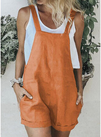 Einfarbig Träger Ärmellos Lässige Kleidung Strampler