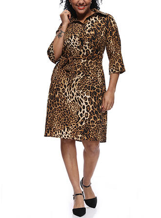 Leopard 3/4 Sleeves Sheath Knee Length Plus Size Dresses