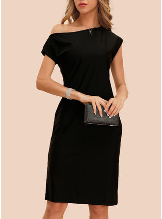 Solid Short Sleeves Sheath Knee Length Little Black/Party/Elegant Dresses