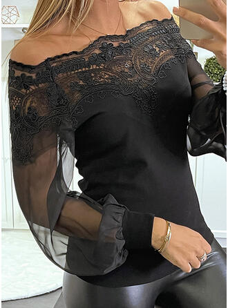 Solid Lace Off the Shoulder Lantern Sleeve Long Sleeves Elegant Blouses