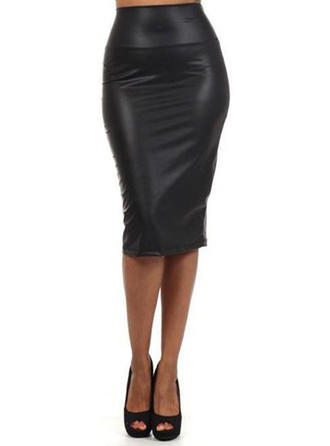 Leather/PU Plain Knee Length Bodycon Skirts