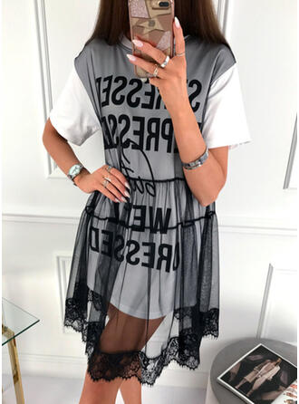 Print/Patchwork Short Sleeves A-line Knee Length Casual Dresses