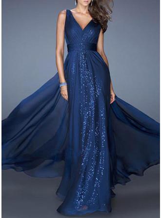 Einfarbig Ärmellos A-Linien Maxi Party/Elegant Kleider