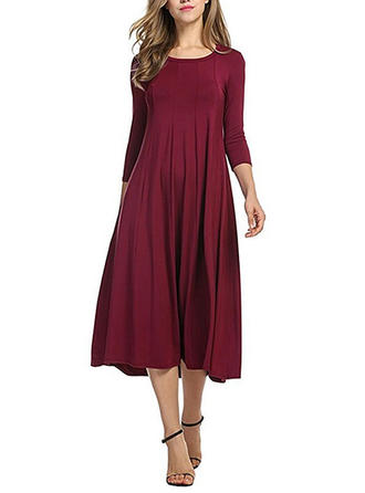 Solid Round Neck Midi Shift Dress