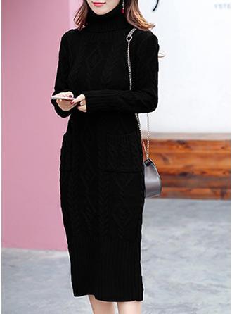 Solid Cable-knit Pocket Turtleneck Sweater Dress