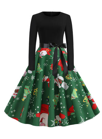 Print Long Sleeves A-line Knee Length Vintage/Christmas/Party/Elegant Dresses
