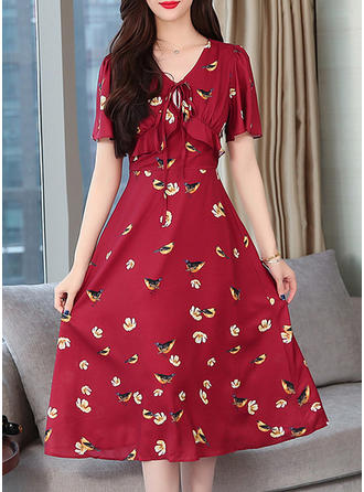 Print/Floral Short Sleeves A-line Midi Casual Dresses