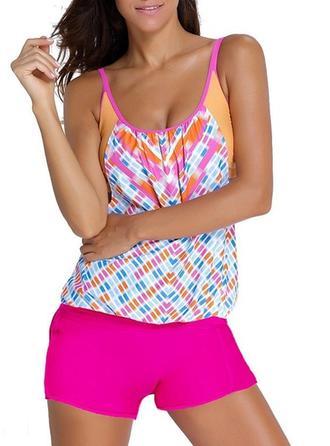Colorful Triangle U Neck Beautiful Plus Size Tankinis Swimsuits