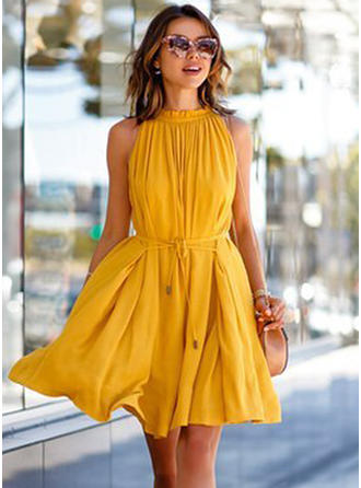 Chiffon With High temperature setting Above Knee Dress