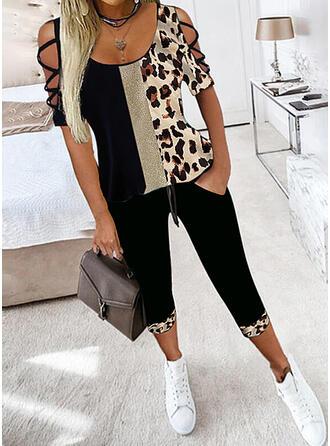 λεοπάρδαλη Χρώμα μπλοκ Plus μέγεθος Szexis μπλούζα & Ρούχα Δύο Κομματιών Set ()