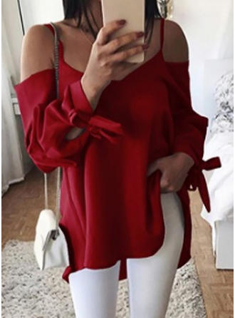 Solid Spaghetti Strap Long Sleeves Casual Blouses