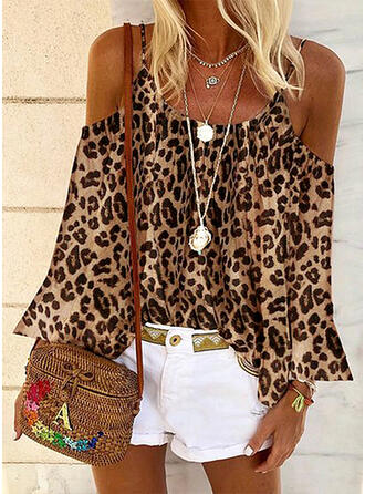 Animal Print Cold Shoulder Flare Sleeve Long Sleeves Casual Blouses