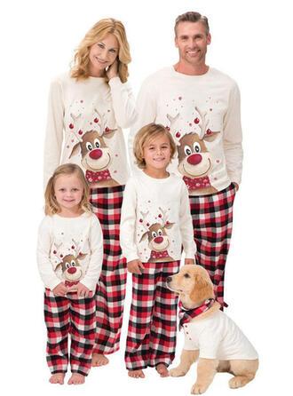 Deer Plaid Cartoon Christmas Family Matching