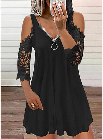Jednolity Koronka Rękawy 3/4 cold ramion rękaw Sukienka Trapezowa Nad kolana Nieformalny Łyżwiaż Sukienki