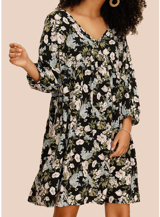 Print/Floral Long Sleeves Shift Above Knee Casual/Boho/Vacation Dresses (199268599)
