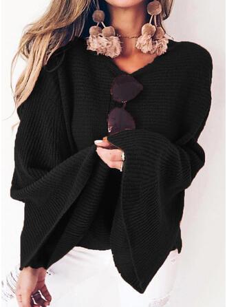 Jednolity Prążkowana dzianina Dekolt w kształcie litery V Swetry
