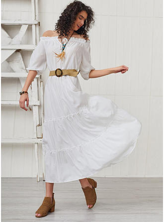 Solid 1/2 Sleeves/Puff Sleeves A-line Maxi Casual Dresses