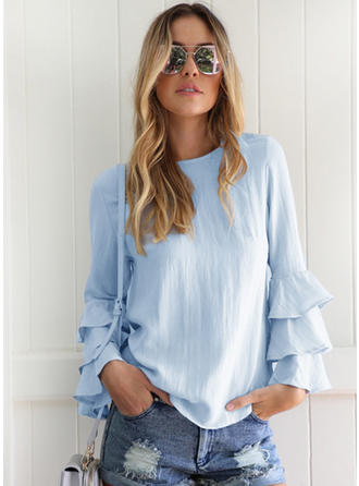 Solid Boat Neck Flare Sleeve Ruffle Blouses