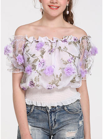 Print Off the Shoulder Short Sleeves Casual Sexy Blouses