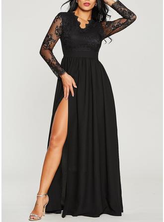 Lace V-neck Maxi A-line Dress