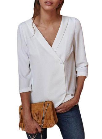 Polyester V Neck Plain Long Sleeves Casual Blouses