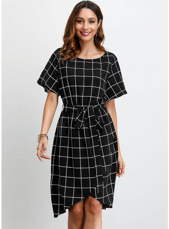 Plaid 1/2 Sleeves A-line Knee Length Casual Dresses