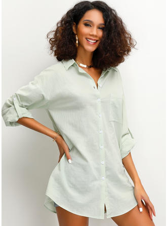 Solid Lapel 3/4 Sleeves Button Up Casual Shirt Blouses