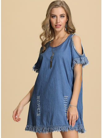 Solid Cold Shoulder Sleeve Shift Above Knee Casual Dresses