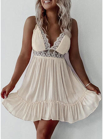Lace/Solid Sleeveless A-line Above Knee Sexy/Party Slip/Skater Dresses